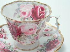 "Royal Albert Vintage Fine Bone China Tea Cup and Saucer Made in England ""Ruby- Summer Bounty Series"" Large Pink Roses Lots of Gold"