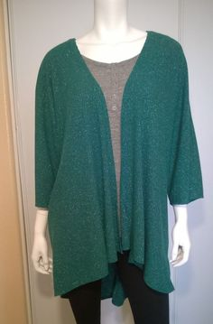 LuLaRoe Lindsey Kimono Green/Silver  **Limited Edition** Size M W62 #LulaRoe #CadiganBlouse #Casual