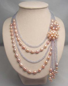 bridesmaid gift ,Bead Necklace,Beaded Jewelry,Pearl Necklace Free shipping-4 Strands Of Pearl Crystal Flower Necklace