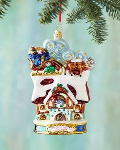 H8CC6 Christopher Radko Up On the House Top Christmas Ornament