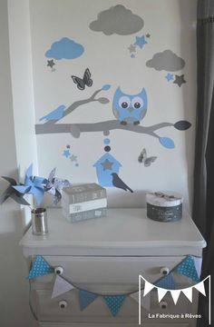 D coration chambre b b chouette hibou arbre oiseau for Chambre bebe garcon bleu et gris