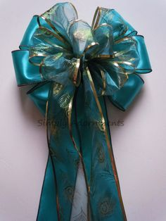 Peacock Christmas Tree bow Turquoise Blue Peacock Gift Bow by SimplyAdornmentsss