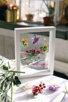 pressed + framed flowers