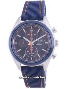 Stainless Steel Case, Silicone Strap, Solar Movement, Sapphire Crystal, Blue Dial, Analog Display, Tachymeter Scale. Seiko 5 Military, Invicta Pro Diver Chronograph, Orange Highlights, Seiko Solar, Seiko Automatic, Watch Model, 100m, Seiko Watches, Watch Sale