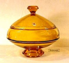 Viking Glass Epic Flying Saucer Covered Candy Box Jar