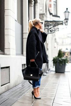 stilettos, jeans and cocoon coat
