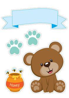 Bear Boy with Honey Free Printable Cake Toppers. - Oh My Baby! Scrapbook Bebe, Baby Boy Scrapbook, Ideas Scrapbook, Baby Boy Cake Topper, Baby Boy Cakes, Deco Baby Shower, Baby Boy Shower, Mini Stickers, Baby Mini Album