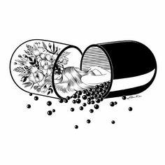 Bloom inside the pill tattoo