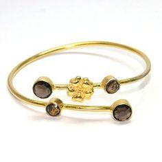 Smoky Gemstone brass bangle