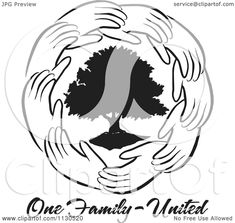 72c31b4f Cartoon Of A Ring Of Hands Around A Black Tree With One Family United Text  - Royalty Free Vector Clipart by Johnny Sajem