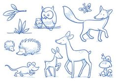 Vektor: Cute cartoon forest animals. Owl, fox, deer, hedgehog, mouse. Hand drawn doodle vector illustration.