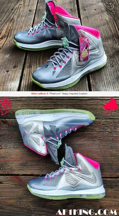 "a1570059f87 THE SNEAKER ADDICT  Nike LeBron X ""Platinum"" Yeezy 2 Inspired Custom  Sneaker ("