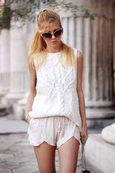 Casual neutrals - Lingerie style shorts