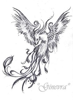 Phoenix tattoo - I would have it like this, but probably in black, dark blue, or blue-silver on the back of my neck.