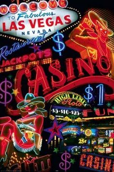 Las Vegas Neon Signs Travel Photography Poster A6707 | eBay