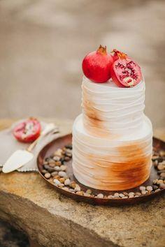 Bohemian wedding cake with pomegranate.