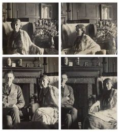 Snapshots of Virginia Woolf and T. S. Eliot taken by Lady Ottoline Morrell at her home, Garsington.