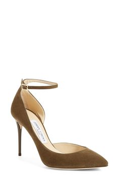 Love the slender ankle strap on these mossy green Jimmy Choo pumps.