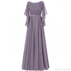 Ruffle Sleeves Chiffon Mother of the Bride Groom Dress Evening Formal Gowns Long Mothers Dress, Mother Of The Bride Dresses Long, Mothers Dresses, Dress Long, Half Sleeve Dresses, Half Sleeves, Long Bridesmaid Dresses, Wedding Dresses, Groom Dress