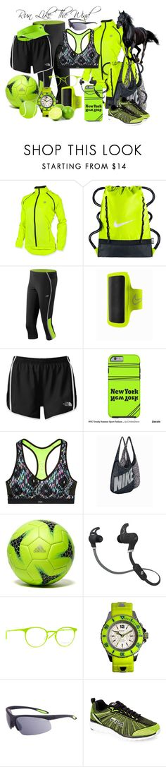 """""""Running Cross Training Tennis Soccer Sporty Lime and Black"""" by cricketdiane ❤ liked on Polyvore featuring Canari, NIKE, New Balance, The North Face, Victoria's Secret, adidas, SMS Audio, Italia Independent, KYBOE! and Fila"""