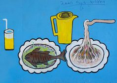 Restaurant Advertisement Painted Sign Fish And Noodles Somaliland by Eric Lafforgue, via Flickr
