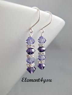 Swarovski crystal earrings Purple jewelry Wedding by Element4you, $16.00