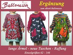 Kindermode - BALLONESSA Ergänzung Langarm, Raffung, Taschen - ein Designerstück von Elsterglueck bei DaWanda