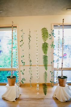 Flowers by Lace and Lilies, Art Gallery Wedding Backdrop, Fern, Eucalyptus, Carnation - hanging flowers