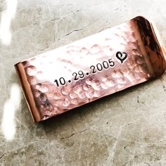 Date Personalized Money Clip  Hand Stamped by BlueCornerCreasigns