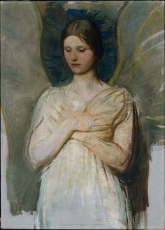 Abbott Handerson Thayer - A Virgin Abbott Handerson Thayer - Caritas. Abbott Handerson Thayer - My Children (Mary, Gerald, and Gla. Figure Painting, Painting & Drawing, Angel Protector, André Derain, Alfred Stevens, Albert Bierstadt, I Believe In Angels, Angels Among Us, Oil Painting Reproductions