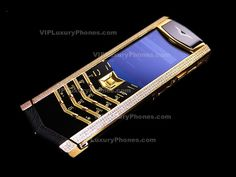 Sparkling Crystals Vertu Signature Black Leather Luxury Cell Phone