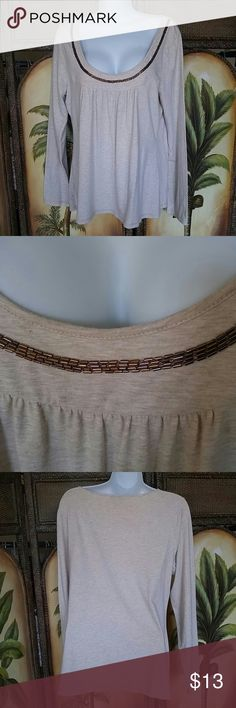 Ann taylor top 93% cotton 7% spandex super soft No flaws Has some stretch Light tan flecks of creme Ann Taylor Tops Tees - Long Sleeve