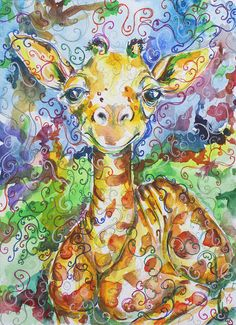Items similar to Baby Giraffe Watercolor reproduction Kit Sunderland on Etsy Giraffe Art, Giraffe Crafts, Giraffe Illustration, Watercolor Paintings, Watercolors, Colorful Animals, Whimsical Art, Painting Inspiration, Flower Art