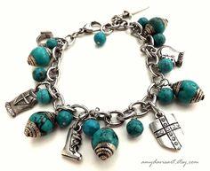 Full Armor Of God Charm Bracelet, Turquoise Beads, Ephesians 6 Scripture Jewelry, Put on the Full Armour of God, Christian Jewelry Bracelet by AmyDavisArt on Etsy