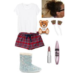 Lazy At Home Day by livibear13 on Polyvore featuring polyvore, fashion, style, Monki, Abercrombie & Fitch, Moschino, Maybelline and Givenchy