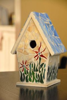 Image result for mosaic birdhouse