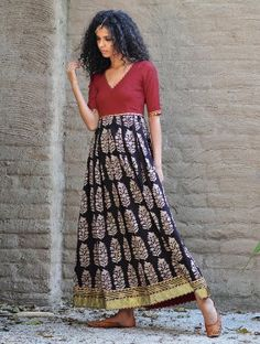 Red-Black Natural Dyed Block Printed Box Pleated & Gota Embellished Cotton Dress