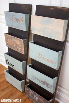 file folder or magazine Organizer - Very easy DIY project with step by step tutorial.Hanging file folder or magazine Organizer - Very easy DIY project with step by step tutorial. Wall File Organizer, Diy Organizer, File Organiser, Hanging Organizer, Diy Hanging, Personal Organizer, Wall File Holder, Hanging Storage, Outdoor Storage