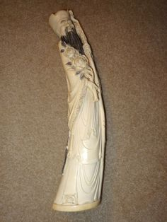 """Chinese Ivory Statues   338: 20"""" Large Ivory Statue of a Chinese Man w/Flowers : Lot 338"""