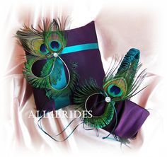 Peacock weddings purple and teal flower girl basket and ring bearer pillow