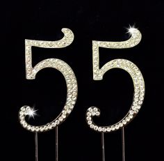 55th Birthday / Wedding Anniversary Number Cake Topper with Sparkling Rhinestone Crystals - 2.75 *** Quickly view this special product, click the image : baking decorations
