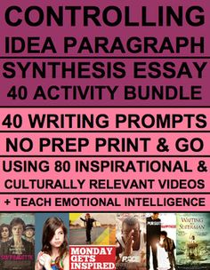 Teach & Practice Synthesis Essay Writing & Controlling Idea Paragraph using 40 weekly prompts & 80 inspirational and culturally relevant videos! BONUS: Teach emotional intelligence & social emotional curriculum (SEL). Perfect for reluctant readers & students with disabilities. Comparative Essay, Synthesis Essay Writing, Controlling Idea Paragraph & NY ELA Regents #26 using inspirational videos. NO PREP Print & teach #synthesisessaywriting