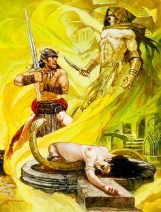 Black Colossus - Conan the Barbarian illustration by Sanjulian (Manuel Perez Clemente) Dark Fantasy Art, Fantasy Artwork, Fantasy Rpg, Sci Fi Horror, Horror Art, Conan The Barbarian, Sword And Sorcery, Story Characters, Pulp Art