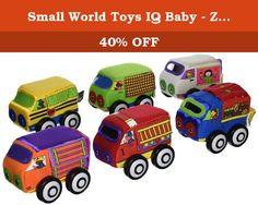 Small World Toys IQ Baby - Zoom Zoom Vehicles. The Zoom Zoom Vehicles from the Small World Toys IQ Baby collection are just right for the smallest little drivers. These tiny soft-stuffed vehicles are just the right size for tiny tots. You get 6 soft, squishy fabric trucks with wheels that really roll. For added interest, the trucks have bright, colorful graphics, peek-a-boo windows and doors, clear vinyl or shiny windshields and cloth flaps that open to reveal surprises. Fabrics in…
