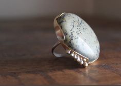 Light Green Moss Agate Ring Set in Sterling Silver by primandpoppy