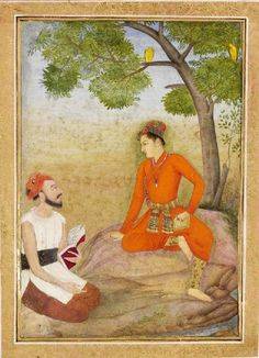 Small Clive Album p. 19, nobleman and singer, opaque watercolour on paper, Mughal, 1650-1750