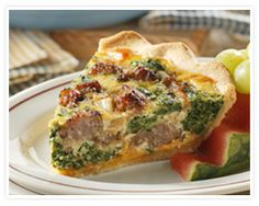 Sausage-Spinach Quiche-DELISH! Made it with Maple flavored sausage...family LOVED it!!
