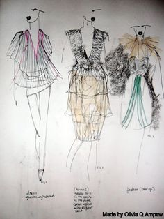 Fashion Sketchbook page - drawings; developing a fashion collection