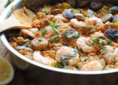 Late Summer Paella with Zucchini, Shrimp and Chicken Sausages