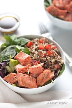 Salmon Quinoa Salad with Balsamic Olive Oil Dressing. Pan seared salmon served with chilled quinoa and mixed greens. An easy 15-minute meal!